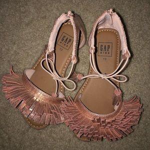 Girls Rose Gold Fringe Sandals